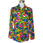 1960s / 1970s Vintage Bright & Bold Multicolored Floral Blouse / Top
