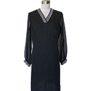 1960s Vintage Black Shift Dress with Rhinestone Detailing