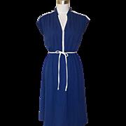 1970s Vintage Navy Blue Knit Style Dress w/White Trim