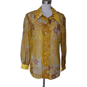 1960s Vintage Mod Sheer Yellow and Brown Floral Blouse / Top