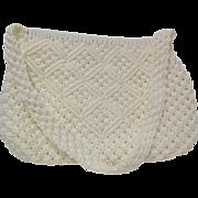 1970s Vintage White Macrame' Purse / Handbag