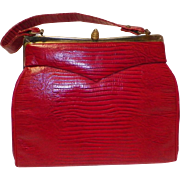 1950s Vintage Red Faux Snake / Reptile Purse / Handbag