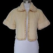 1950s Vintage Ivory Beaded Crop Sweater