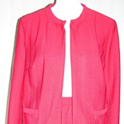 1960s Red Textured Suit Larger Size - Butte Knits