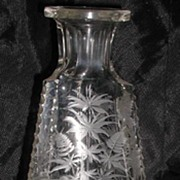 REDUCED Extremely Unusual Three Sided Footed Glass Decanter Etched Horse & Birds Heron ...
