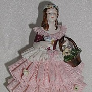 REDUCED Martha Budich Kronach Germany Karl Klette Pink & White Dipped Lace Porcelain Victorian