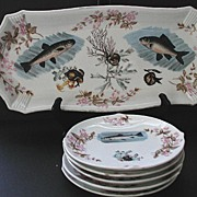 REDUCED Antique Marx & Gutherz Carlsbad Bohemia Austria 6 Pc Fish Set Hand Painted Vividly Col
