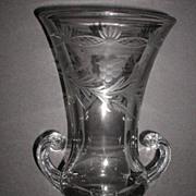 """Vintage Large 2 Handle Etched Floral Glass Vase 10.5"""""""