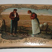 REDUCED Early 1900s Celluloid Autograph Book The Angelus Call To Prayer Scene Many Personal ..