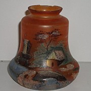 REDUCED Vintage  Hand Painted Ceiling Light Shade Fixture Cover Windmill Water Village Tree  S