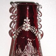 REDUCED Amazingly Detailed Hand Painted White Enamel Ruby Red Vase Palace & Courtyard Scen