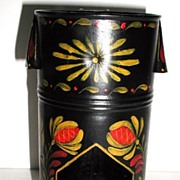 REDUCED Highly Unusual Vintage Tole Toleware Floral  Hand Painted Candle Lantern