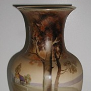 REDUCED Exceptional Hand Painted Nippon Vase Country House Scene Trees Bushes Pink & Yello