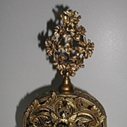 REDUCED Incredible Oval Art Nouveau Gold Filigree Floral Perfume Bottle Glass Dauber