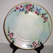 REDUCED Jaeger & Co. Bavaria Germany Bluebird Plate Wild Pink Roses Thorns Artist Signed