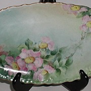 REDUCED Vivid Hand Painted Oval Relish Tray Pink Daisies Rim Embossing Gold Artist Signed