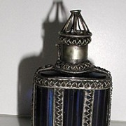 REDUCED Highly Unusual & Unique Cobalt Blue Glass Perfume / Scent Bottle Pewter Enclosed Cage