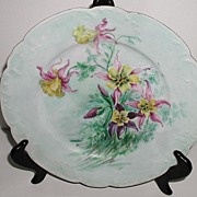 "REDUCED Lovely Artist Signed Haviland Limoges France 9.75"" Plate Purple Pink Yellow Hand"