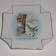 REDUCED Vintage Black Americana Porcelain Plate Ashtray The Early Bird Catches The Worm Black
