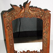 Astounding Vintage Intricately Carved Victorian Wood Picture Frame Doves Love Birds Flowers Le