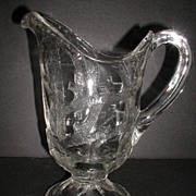 REDUCED 1890s Lovely EAPG Pattern Glass Pitcher Branched Tree Dalzell Gilmore & Leighton Findl