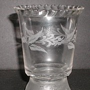 REDUCED 1875 EAPG Gillinder & Sons Spooner Frosted Lion Pattern Cabling Floral Etching
