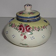 REDUCED Exquisite Signed Marseille France Hand Painted Floral Porcelain Inkwell With Liner
