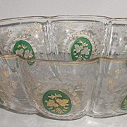 REDUCED Astonishing Venetian Glass Oval Melon Bowl Cameo Paneled Insets Gold Grapes Leaves Fro