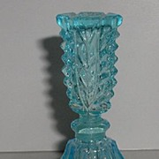 REDUCED Spectacular Vintage Sky Blue Perfume Bottle Fluted Sides Deeply Cut Stopper Floral Sid
