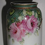 REDUCED Stunning Unmarked Hand Painted Pink Rose Pedestal  Vase Gold Scrolling Ample Diagonal