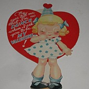 REDUCED Vintage Mechanical Dunce Cap Eyes Open Or Closed Valentine's Day Card