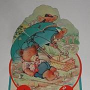 REDUCED Vintage Picnicking Bears Honeycombed Umbrella Valentine's Day Greeting Card Freestandi