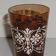 REDUCED Exquisite Vintage Early 1900s Amber Fluted Glass Tumbler White Enameled Winged Dragons