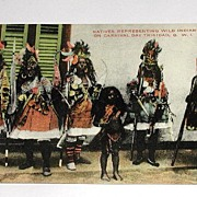 Vintage Early 1900s Postcard Natives Representing Wild Indians On Carnival Day Trinidad B W I