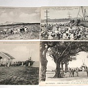 Four Vintage Early 1900s Real Photo Postcards Martinique 3 Water Fort-De-France Mount Pelee Ex