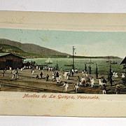 Vintage Early 1900s Real Photo Postcard Muelles De La Guayra Venezuela Postally Unused No Writ
