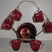 Vintage Federal Glass Diana Swirl Pattern 17 Pc Cranberry Ruby Red Flash Demitasse Cup & Sauce