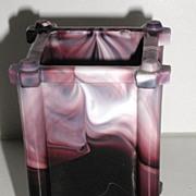 Exquisite 1800s Purple Slag Glass Footed Mini Planter Pencil Holder