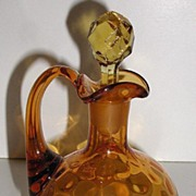 REDUCED Old 1800s Ruffled Rim Amber Glass Cruet Matching Stopper Thumbprint Pattern Applied ..