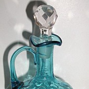 REDUCED Old Royal Blue Glass Cruet Ruffled Rim Thumbprint Design Applied Handle