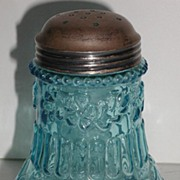 REDUCED Exquisite Victorian 1800s Blue Embossed Flower Mold Sugar Shaker EAPG