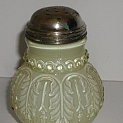 REDUCED Exquisite Victorian 1889 Northwood Leaf Umbrella Sugar Shaker White Cased Pale Yellow