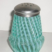 REDUCED Exquisite Victorian 1800s Blue Opalescent Sugar Shaker Swirl Ribbed Chrysanthemum Base
