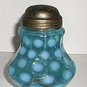 REDUCED Exquisite Victorian 1800s Blue Opalescent Sugar Shaker Coin Spot Dot Nine Panel Mold