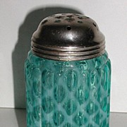REDUCED Exquisite Victorian 1800s Blue Opalescent Glass Sugar Shaker Ribbed Cris Cross