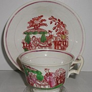 REDUCED 1800s Staffordshire Pink Luster Lusterware Lustre Cup & Saucer Hand Painted Oriental .