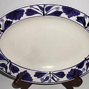 REDUCED Petrus Regout Maastricht Holland Hand Painted Cobalt Floral Oval Platter