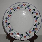 REDUCED W. Adams & Sons Hand Painted Soft Paste Stick Decorated Plate Embossed Beading Scrolls