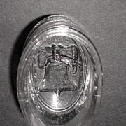 EAPG 1876 Gillinder & Sons Centennial Liberty Bell Oval Open Salt Cellar Dip