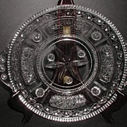 "1800s EAPG Willow Oak Clear 11"" Tab Handled  Plate"